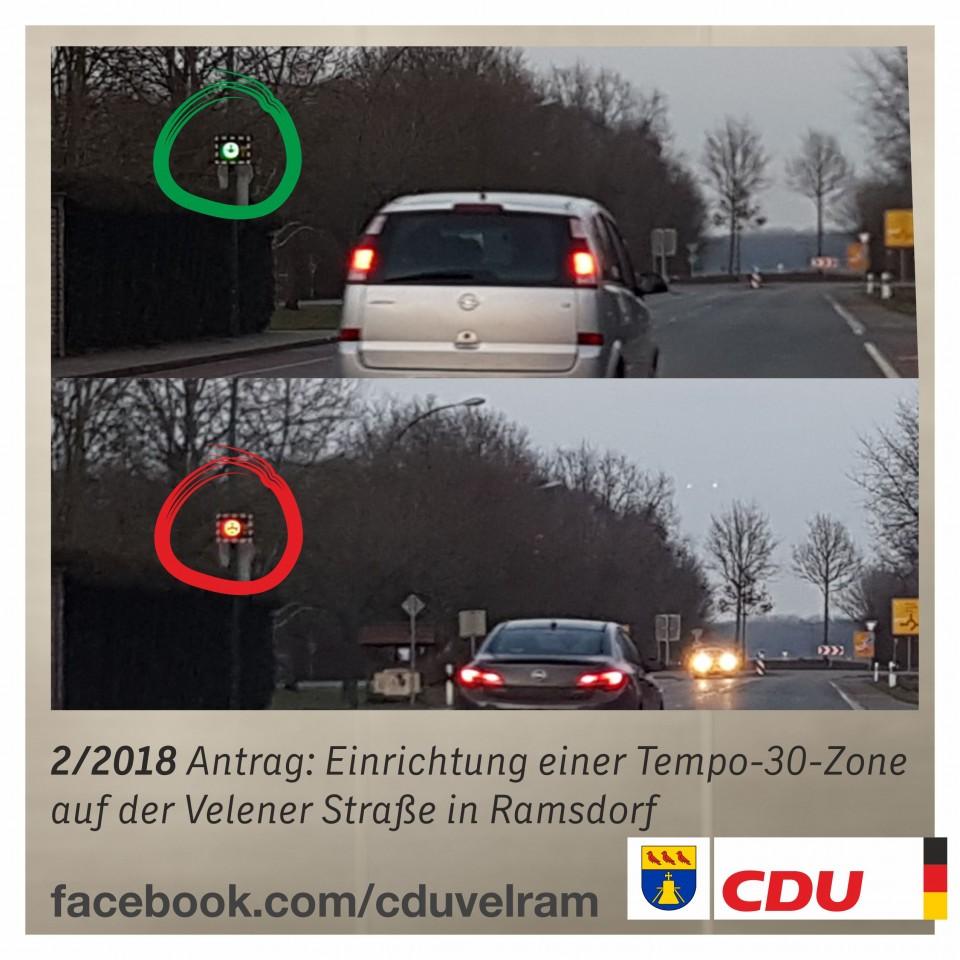 Aktuell wird dauerhaft die Geschwindigkeit des Verkehrs an der Velener Straße (Höhe AWO-Kita) gemessen. Ein grüner, lachender Smilie zeigt an, dass alles in Ordnung ist. Ein roter, trauriger Smilie signalisiert, dass man zu schnell unterwegs war.