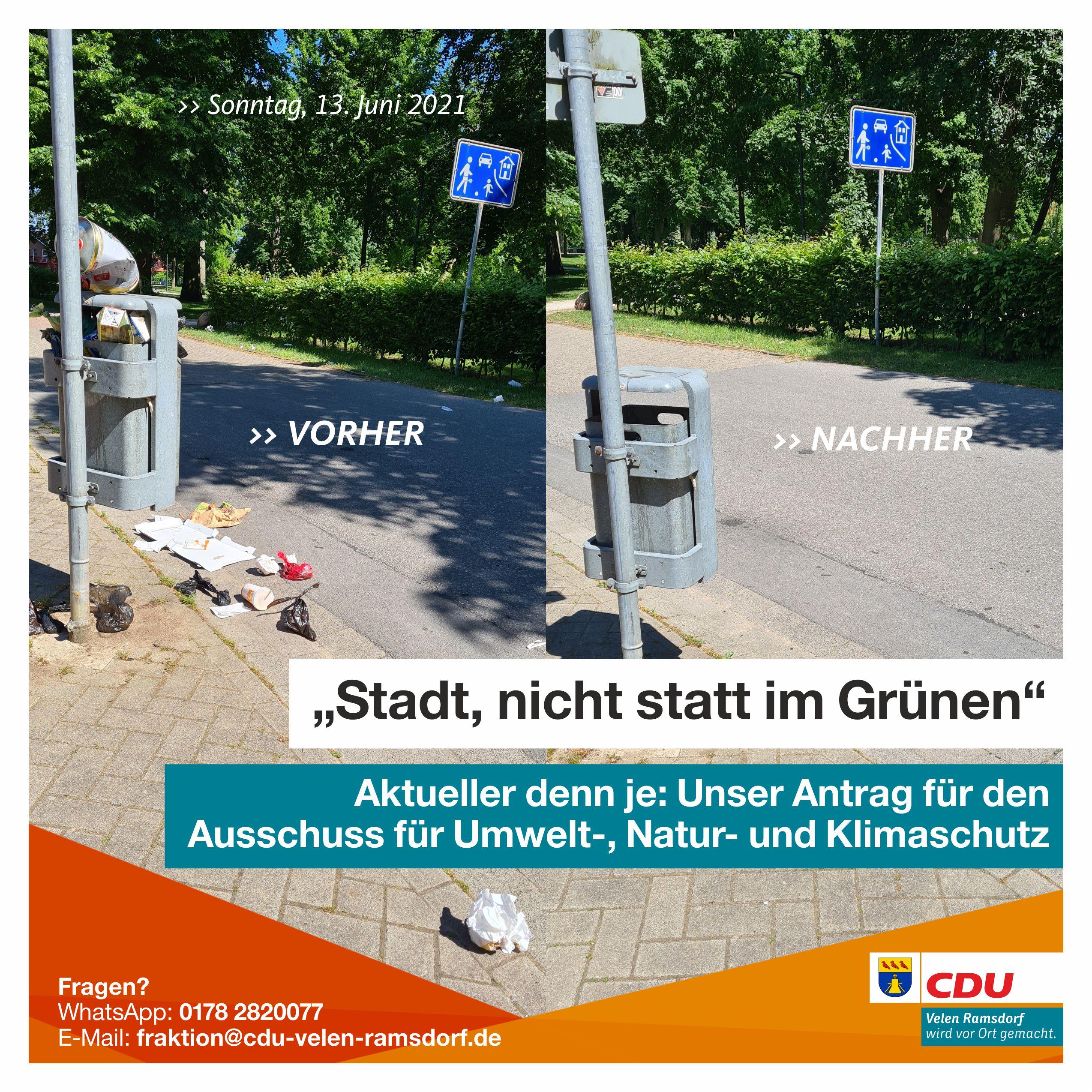 So haben wir leider am Sonntag, 13. Juni 2021 den öffentlichen Mülleimer an der Krummen Mauer vorgefunden. Kein schöner Anblick - deswegen hat die CDU die Handschuhe und den Müllbeutel ausgepackt und den Unrat entsorgt.